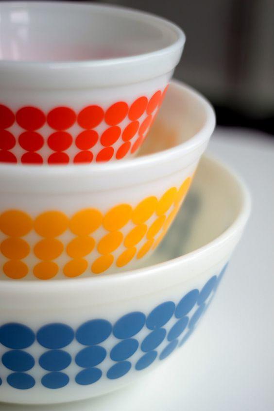 Vintage Pyrex bowls - kitchen essentials.