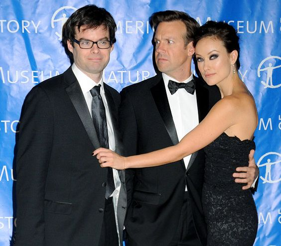 Jason Sudeikis suspiciously eyed Bill Hader as his girlfriend Olivia Wilde struck a flirty pose at a Nov. 15 gala at the Museum of Natural History in NYC.