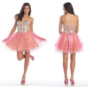 I love this corset beaded tutu prom dresses short cheap junior ...