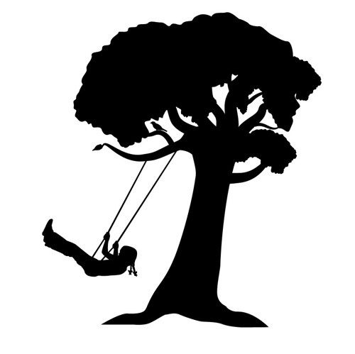 Watercolor+Girl+On+Swing+Silhouette   girl on tree swing silhouette tire swing silhouette tree silhouette ...