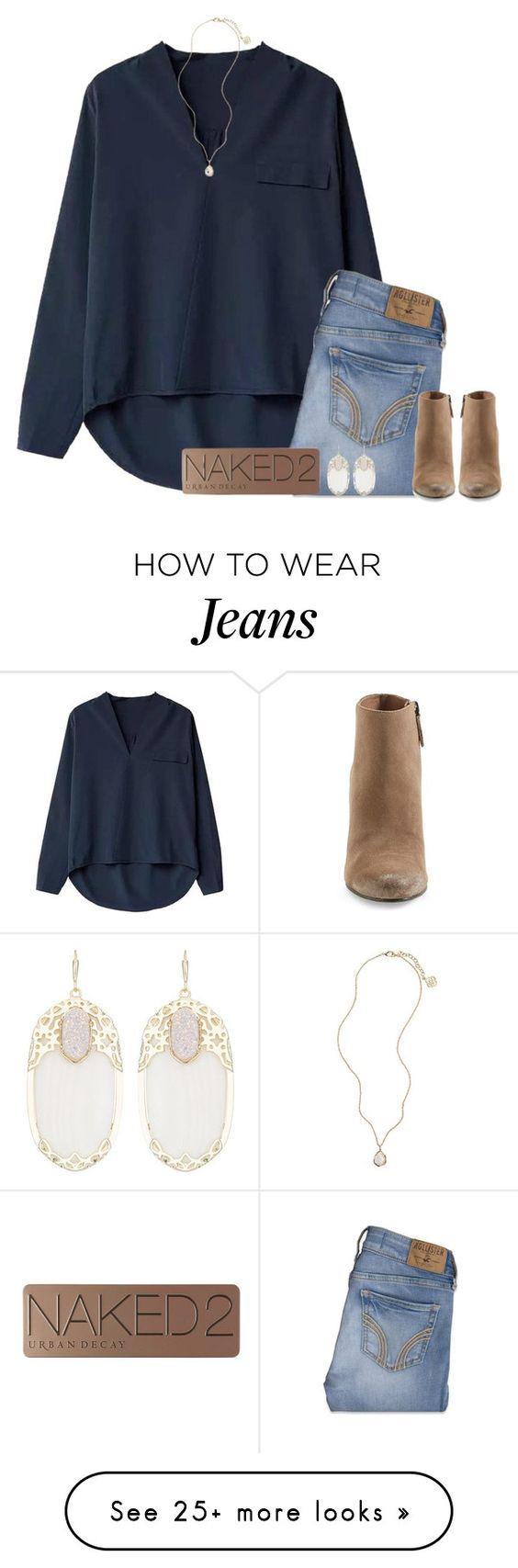 Outfit camisa azul marino, vaqueros claros y botines