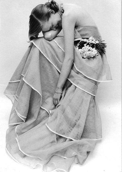 Tiered Evening, 1951 - dress, Angele Delanghe, photographed for British Vogue by Norman Parkinson