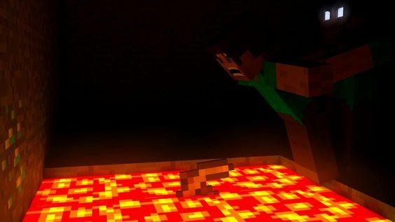 Herobrine pushing Steve into lava