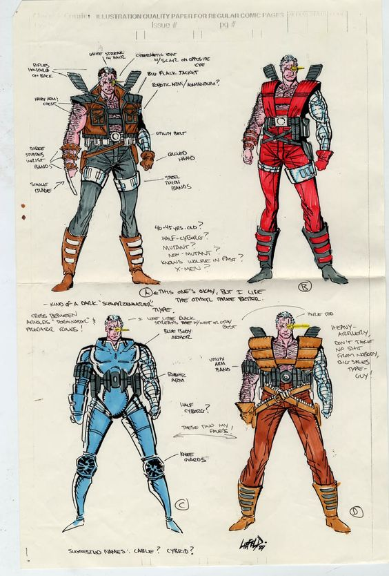 Character Design Best Book : Cable concept drawing by rob liefeld art styles
