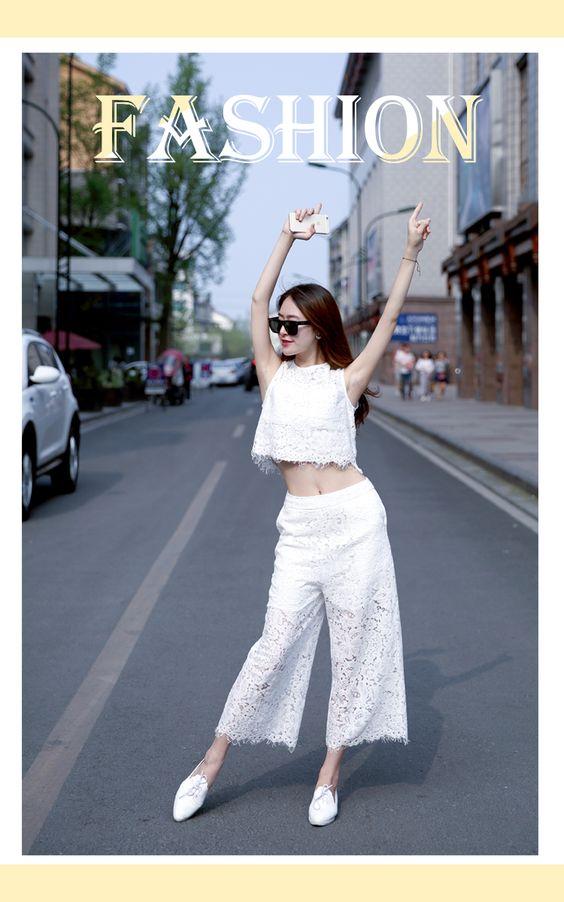 Đặt Thời trang xuân hè với quần ren ống rộng TQ bán sỉ
