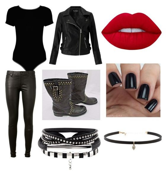 """""""Bicker costum"""" by loverrrrr on Polyvore featuring Miss Selfridge, Boohoo, AG Adriano Goldschmied, Jimmy Choo, Lime Crime and Carbon & Hyde"""