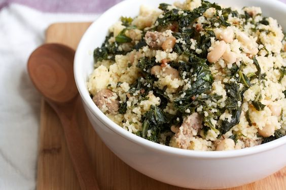 Cous Cous with Sausage, Kale, and White Beans