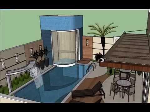 Projeto De Reforma De Uma Area De Lazer Com Piscina Retangular