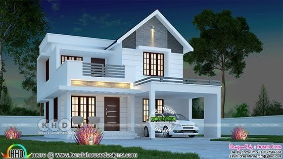 Very Beautiful House In Low Budget Kerala Homes 2018 To 2019 Small Modern Double Floor House In 2020 Kerala House Design Duplex House Design House Architecture Design