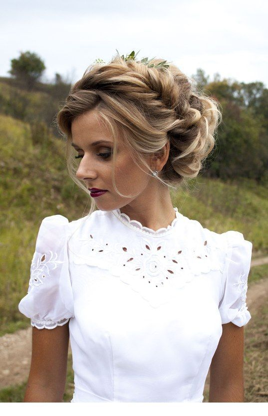 White Dress And Braid Bride Hairstyles Curly Hair Styles Hair