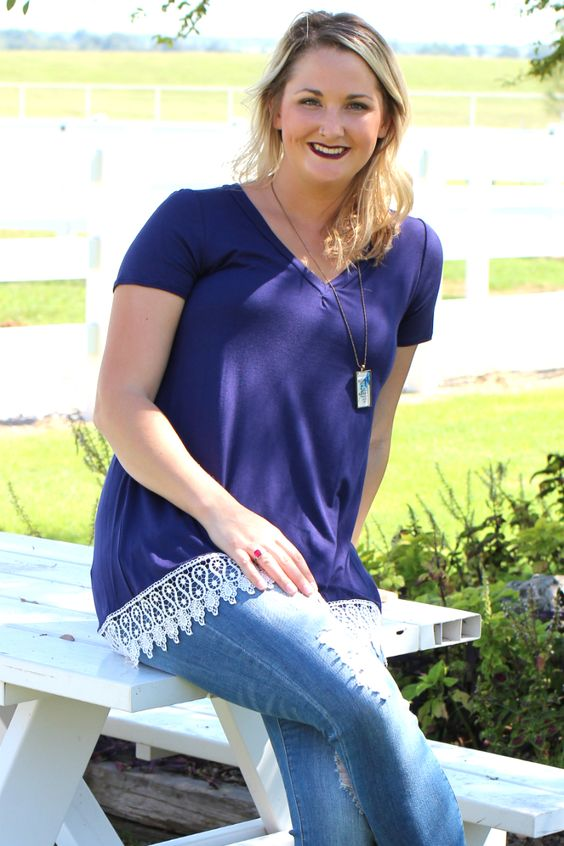 One Faith Boutique - It's Your Lace V-Neck Top ~ Navy ~ Sizes 4-10, $31.00…