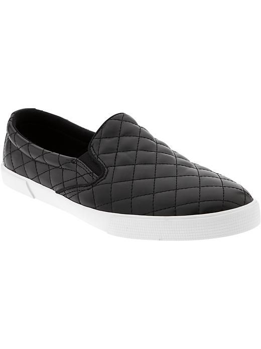 Women's Quilted Faux-Leather Slip-Ons (Old Navy). $26.94 #shoes #footwear