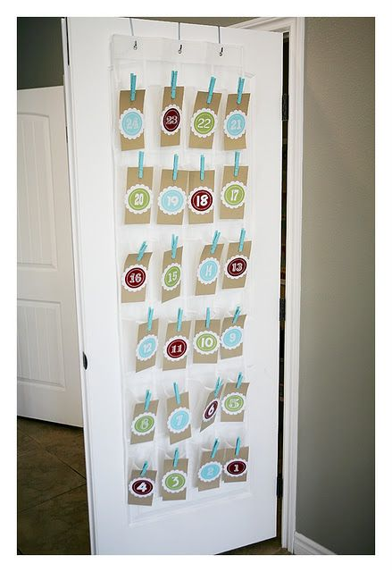 This advent calendar is so cute...shoe organizer and included printable numbers...all you need is clothespins and cardstock