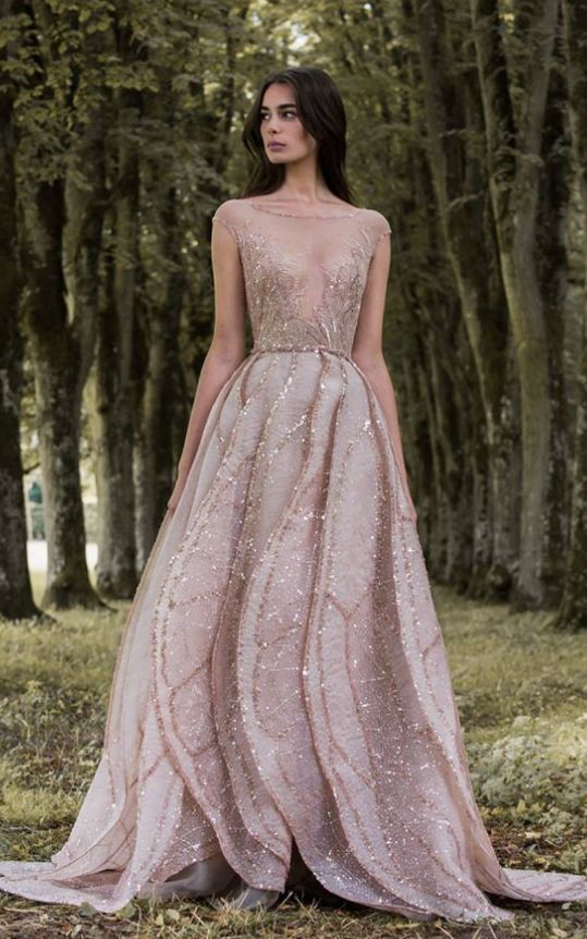 Metallic Beaded Pink Long Sleeve Wedding Dress Paolo Sebastian Blush And Weddings