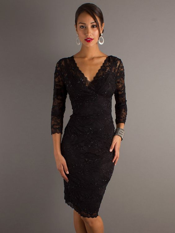 Evening Gowns with Sleeves - ... Sleeves Knee-Length Evening Dress ...