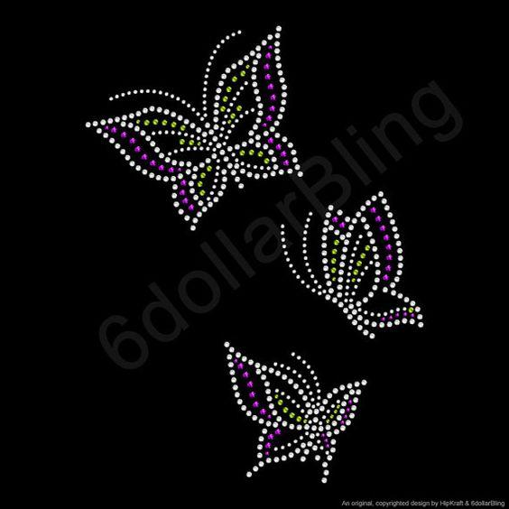 """حجر الراين الحديد على نقل """"الفراشات"""" - كريستال بلينغ تصميم 3 ل1:"""