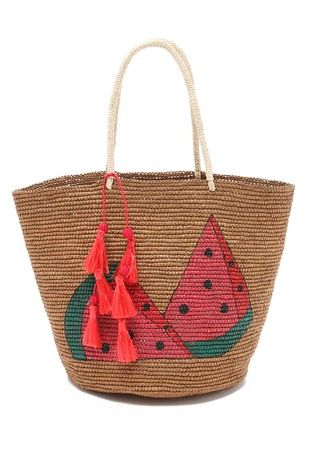 cute watermelon print beach tote