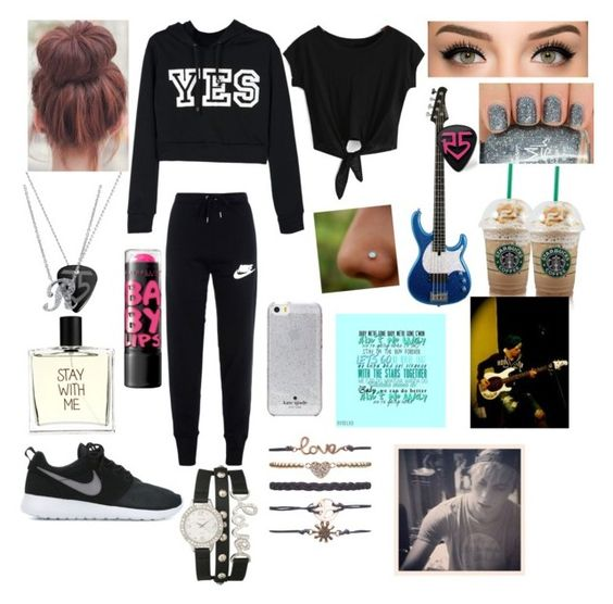 """""""Writing lyrics with Riker"""" by odalys6g ❤ liked on Polyvore featuring NIKE, Liaison De Parfum, BERRICLE, Kate Spade, maurices, Wet Seal and Maybelline"""