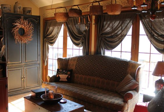 Living rooms primitive living room and the o 39 jays on pinterest - Beths country primitive home decor ideas ...