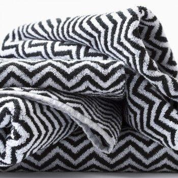 Herringbone Black & White Towel Set