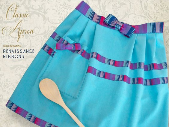 Tailored Linen and Ribbon Half Apron with Renaissance Ribbons | Sew4Home