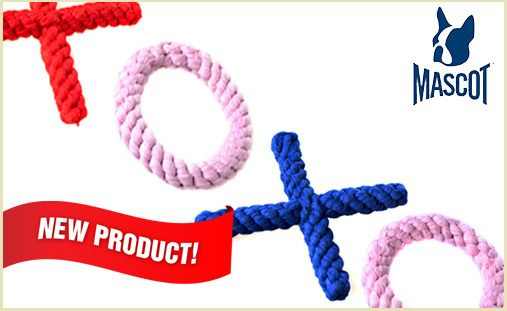 """XOXO. HUG & KISS Rope Toys are the perfect way to show your pups how much you love them. Made from 100% cotton rope, these ultra durable, brand new chew toys are perfect for pups of all ages and sizes. HUG & KISS Rope Toys are available in pre-colored sets of two (1 """"X"""" and 1 """"O""""). Red & Pink, Blue & Pink. Choose the perfect combo for your pup! $12"""