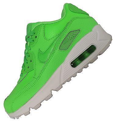 Nike Air Max 90 Leder Damen Jungen Mädchen Neon Grün Weiß