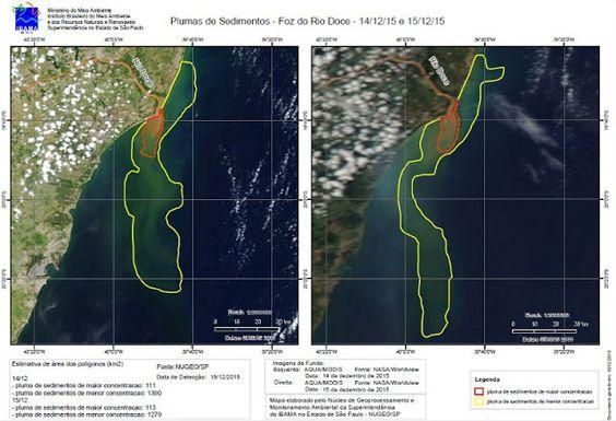 Águas de Pontal: Rompimento da barragem da Samarco: Mancha de lama ...