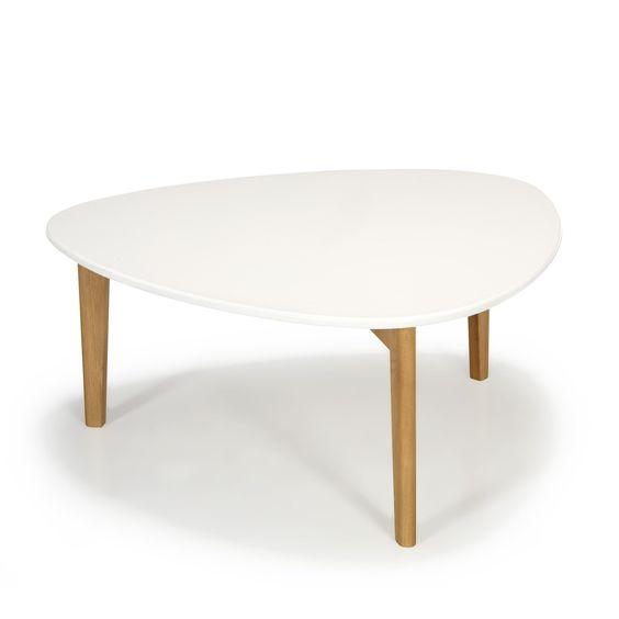 Table basse vintage scandinave blanche 80cm blanc et - Tables basses blanches ...