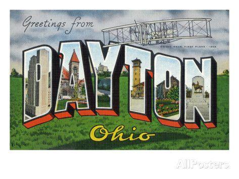 Dayton, Ohio - Large Letter Scenes, Wright Bros. Plane Art Print