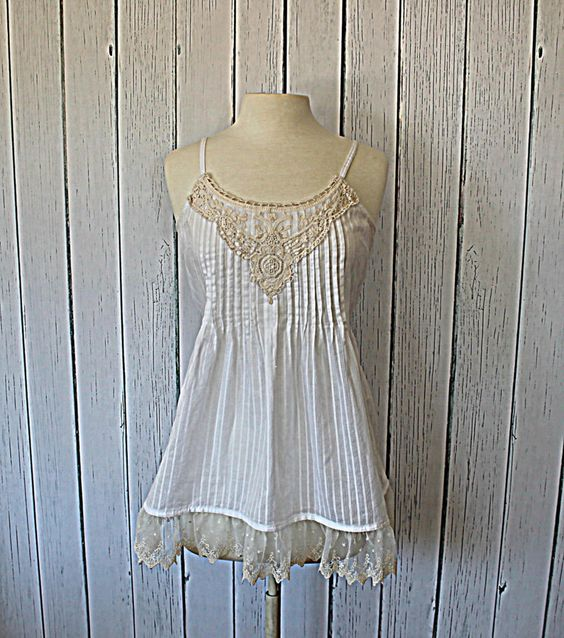 Upcycled Womens Romantic Lace Camisole White and Cream Size Large. $35.00, via Etsy.