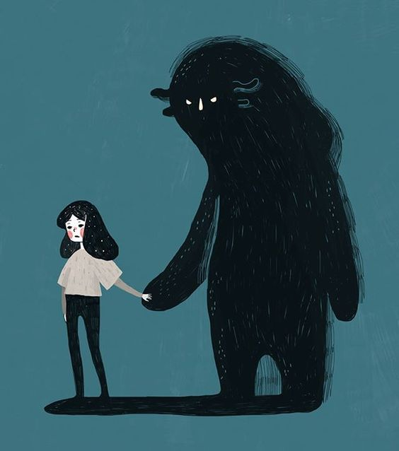 """Kathrinhonestaa - She finally said """"Hello"""". This is what my depression manifests as, a dark shadow that follows me around and sucks the light out of things."""