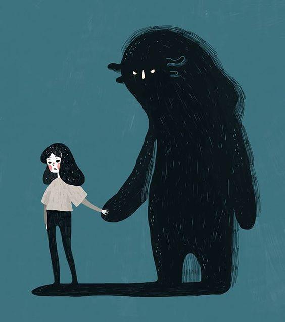 Menina de mãos dadas com o medo.
