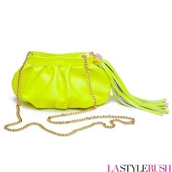 "NEON is the color for this summer!! Check out this Bella Crossbody bag by CC Skye. This crossbody bag features colorful cowhide leather with gold plated chain-link crossbody strap. This bag can be worn crossbody or carried as a clutch. Accessorized with removable leather tassel. If you love the style of this bag, you will love every piece from CC Skye! * Width: 10"" x Height: 5"" x Depth: 3.25"" x Strap Drop: 24.5""   * 18K gold plated hardware"