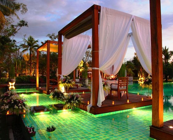 The Sarojin (Khao Lak, Thailand) The five-star Sarojin hotel is located on the beach of Khao Lak, one of Thailand's most beautiful spots. Each of the 56 different types of accommodations available are well hidden amongst wild fruits, herbs and exotic trees. The only way to access the rooms is through the private garden terrace