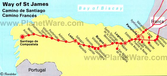 Map of Way of St James. One of the three most holy Christian pilgimage routes to Santiago de Compostela, alongside Rome and Jerusalem.