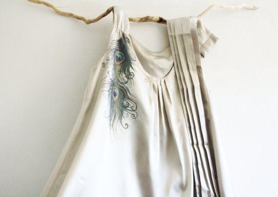 Hand Painted Silver Grey Sattin Dress Tunic OOAK by MishMashStore, $120.00