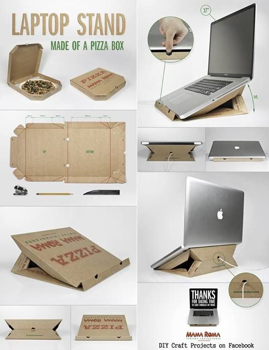 support pour laptop en carton de bo te pizza super ing nieux il fallait y penser ideas. Black Bedroom Furniture Sets. Home Design Ideas