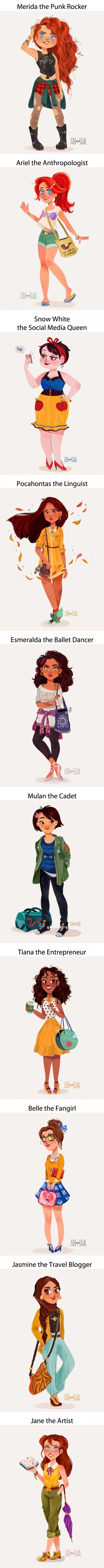 Modern Day Disney Girls. Check out Merida, Ariel, Snow White, Pocahontas,  Esmeralda, Mulan, Tiana, Belle, Jasmine and Jane looking hip for the 21st century.  Disney fan art.
