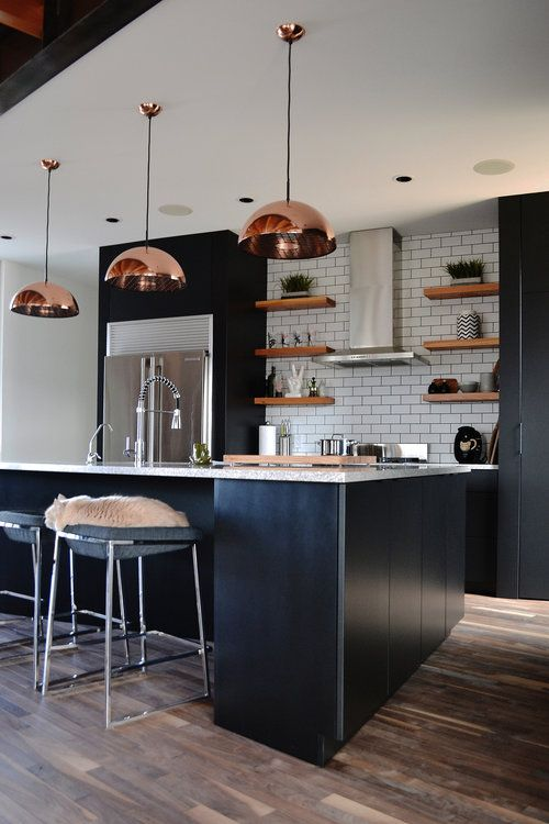 Modern Black Cabinet Kitchen With Copper Hardware And Fixture
