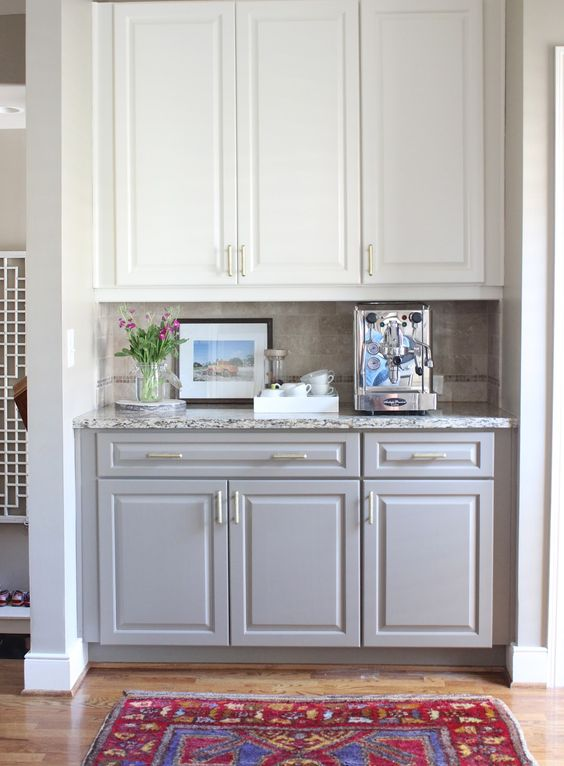 Two Toned Kitchen Cabinets White On Top Gray On