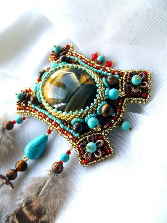 Bead embroidered brooch with tiger eye and turquoise. $112.00, via Etsy.