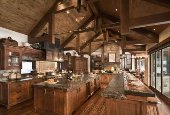 Rustic Kitchens in Mountain Homes-15-1 Kindesign