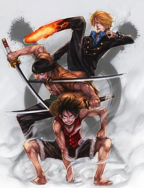 Straw hat Monster Trio: Monkey D. Luffy, Roronoa Zoro, Sanji.