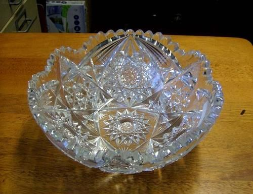 American Brilliant Hand Cut Antique Heavy Crystal Fruit Bowl Fruit Crystals And Antiques