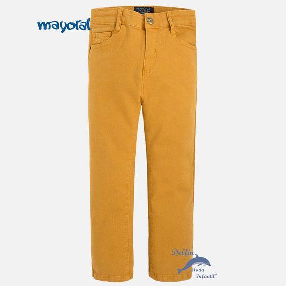 Pantalón largo de niño MAYORAL de sarga elastica color miel