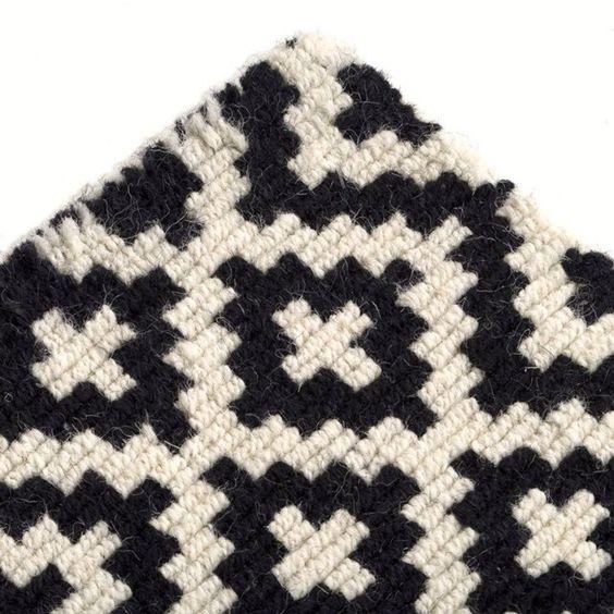 Tapis tufté en laine noir et blanc, Nevio