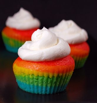 Little rainbow cupcakes!
