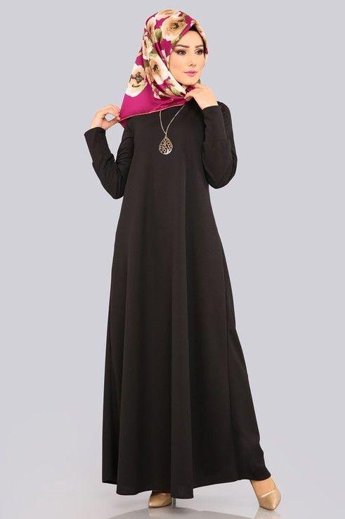 Modaselvim Elbise Kolyeli Boydan Tesettur Elbise Edf4107 Siyah Elbiseler Elbise Elbise Modelleri