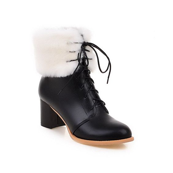 Women's Pu Solid Lace Up Pointed Closed Toe Kitten Heels Boots